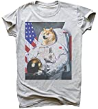 idcommerce Proud Astronaut Doge with Flag Herren T-Shirt Medium