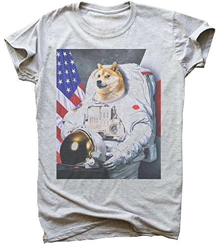 Proud Astronaut Doge with Flag Herren T-Shirt Medium -