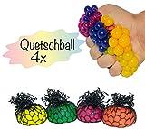 4x Anti-Stress-Ball Quetschball in verschiedenen Farben | 5 cm Durchmesser | für Kinder und Erwachsene | Knetball Squeeze Toy im Netz | hochwertig verarbeitet | geeignet für das Büro und unterwegs