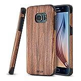 Funda para Galaxy S7Edge, marca BELK, antideslizante, diseño delgado y mate, madera con bordes de goma, ultra ligero, funda suave de TPU, funda suave de madera de gran calidad para Samsung Galaxy S7Edge, 5,5pulgadas, color nuez