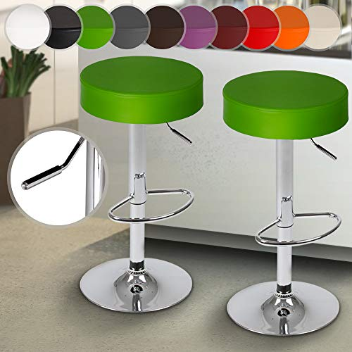 Miadomodo Taburete de Bar | Diseño Clásico con Reposapies, Giratorio y Regulable en Altura | Color y Juego a Elegir | Silla de Bar, Mueble de Bar (Verde, Juego de 2)