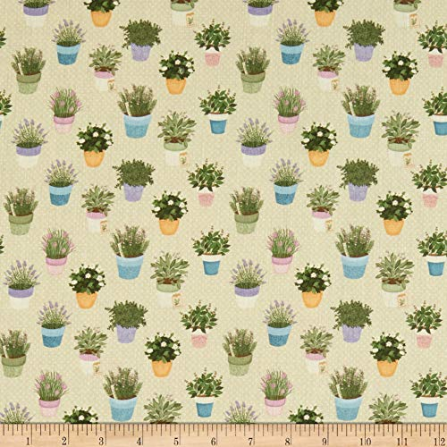STOF France Digital Le Quilt Garden Vert Fabric Stoff, Textil, grün, by The Yard -