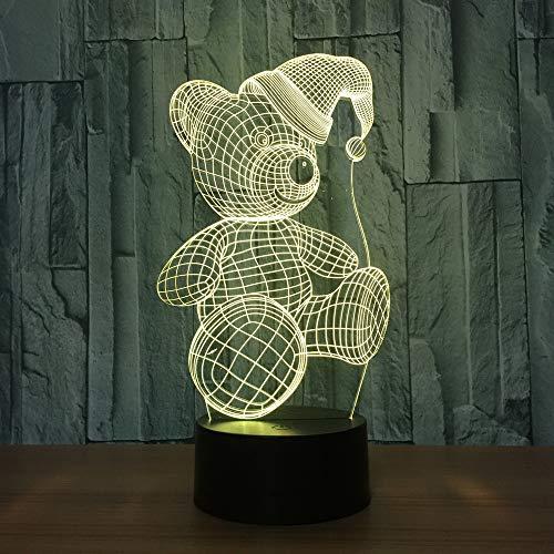 YDBDB Nachtlicht Nette Farbe des Bier-3D Sichtlicht-7 führte Noten-Weihnachtshut-Tabellen-Baby-Schlafen-Stimmungs-Lampen-Weihnachtsgeschenk