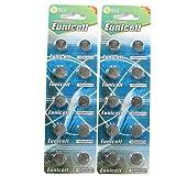 20 Eunicell AG10 / 189 / 389 / LR1130 Knopfzelle Alkaline Alkali Batterie, 2x10-er Pack, Lange Haltbarkeit (Haltbarkeitsdatum markiert)