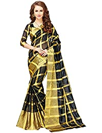 Glory Sarees Women's Cotton Silk Saree With Blouse Piece (Jari116, Black, Free Size)