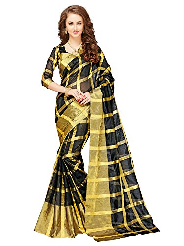 Glory Sarees Cotton Silk Saree (Jari116_Black)