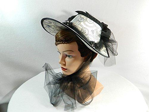 Schute schwarz weiß Damenhut Haube Barock (Renaissance Kostüme Fantasy Faire)