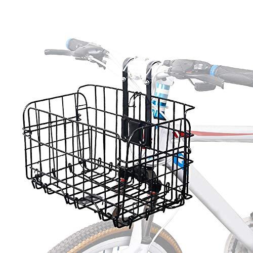 WooyMo Fahrrad Front Korb, Pet Carrier Fahrrad Korb Rost Beweis Falte Fahrrad Korb Lift Off Bike Rücksitz Korb Bike Draht Fahrrad Träger Cargo Rack für Fahrrad Zubehör -