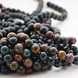 Perline di alta qualità in pietra semi-preziosa di eliotropio naturale di grado A–Filo di 40,6cm–Diametri: 4, 6, 8, 10mm, 10mm (39 - 42 beads)