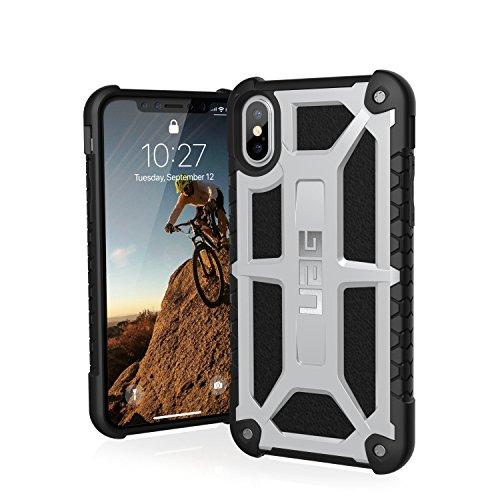 Urban Armor Gear Monarch para Apple iPhone Xs / X Funda con estándar Militar Estadounidense case [Compatible con inducción, cuero] - platino