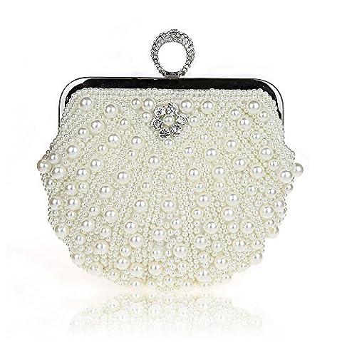 Harson&Jane Damen Perle-Tasche Hochzeit Handtasche Partei-Handtasche mit Kristall Weiß Schwarz Rosa