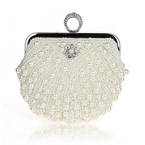 Harson&Jane Damen Perle-Tasche Hochzeit Handtasche Partei-Handtasche mit Kristall Weiß Schwarz Rosa (Weiß) Michael Kors Handtaschen Gold Kette
