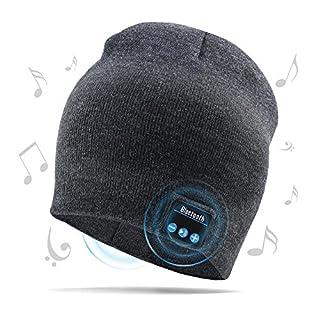 AIEKR Bluetooth Hat Stricken Hat mit Eingebaut Wireless Speaker Fit zum Outdoor Sports Skifahren Running Skating(Grau)