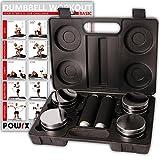 POWRX 5 kg Hantelset inkl. Koffer + Workout | Kurzhantel 2er Set Chrom einstellbar mit Schaumstoffgriff | Kurzhanteln für Fitness Krafttraining | Ideal für unterwegs