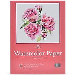 Bloc de 30 Feuilles à Papier Aquarelle Blanc A4 22,9 cm x 30,5 cm - 300g - Grain Fin Sans Acide