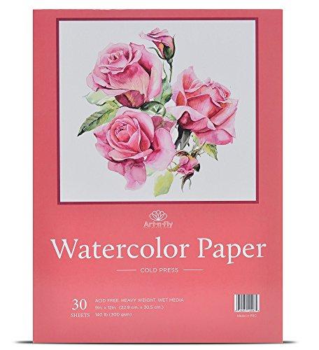 Aquarellpapier 30 Blätter 22,9 x 30,5 cm Malblock (300g) Klappbares Design Kaltgepresst...