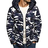 Luckycat Herren Camouflage Zipper Wolle Bluse Verdickung Mantel Pullover Outwear