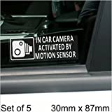5 x SMALL 87x30mm In Car Camera Activated by Motion Sensor Stickers-Vehicle Security Detection Stickers Signs-CCTV For Car,Van,Truck,Taxi,Mini Cab,Bus,Coach