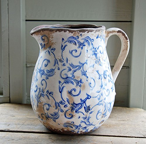 Bowley & Jackson Hampton Vintage Keramik Krug mit Blau und Weiß Blumenmuster - Crackle Glas Antik