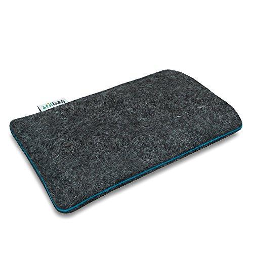 Stilbag Filztasche 'FINN' für Apple iPhone 7 plus - Farbe: hellgrau/apfelgrün anthrazit/azur
