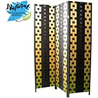 Biombo de Bambu y Papel Trenzado Negro y Amarillo 180 x 135 cm - Hogar y más - Muebles de Dormitorio precios