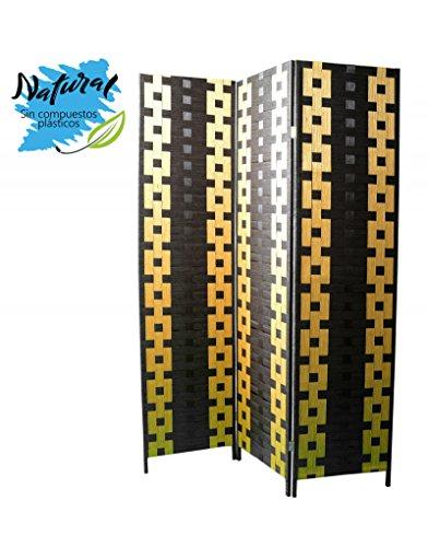 Biombo de Bambu y Papel Trenzado Negro y Amarillo 180 x 135 cm - Hogar