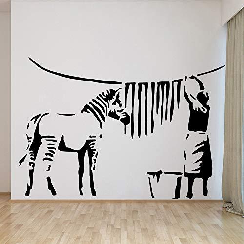 woyaofal Style européen Banksy Zebra Femme Stickers Muraux Décor À La Maison Filles Chambre Sticker pour Le Salon Décoration Amovible Murale XL 58 cm X 84 cm
