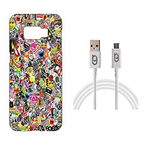 Designer Hard Back Case for Samsung Galaxy S6 Edge with 1.5m Micro USB Cable
