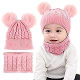 Borlai - Set di 2 Cappelli Invernali Lavorati a Maglia, con Pompon e Fazzoletto da Collo, per Bambini da 1 a 6 Anni Rosa Rosa