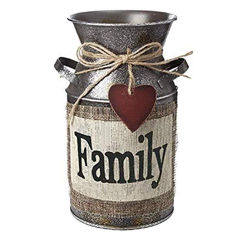 Vosarea Rustikale dekorative Vase mit Grüßen und Seil Design Metall Milchkanne Country Krug für Wohnzimmer, Schlafzimmer, Küche (Familie) Antike Krüge