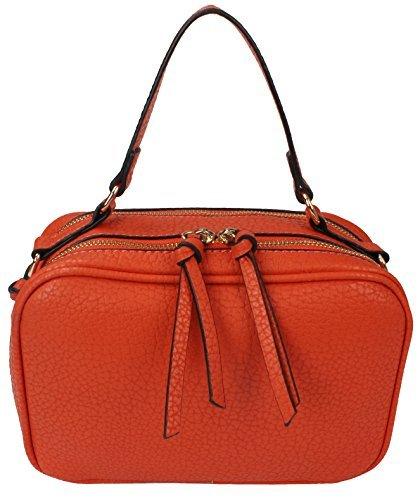 Moda Damen Handtasche, Kunstleder, 2 Reißverschlüsse, kompakt -