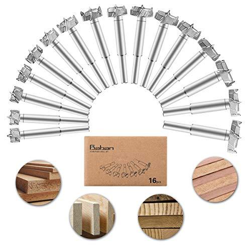 16-teiliges Set mit Forstnerbohrerspitzen von Baban, 15-35 mm, zur Bearbeitung von Holz, aus Wolframstahl, mit Titan beschichtet