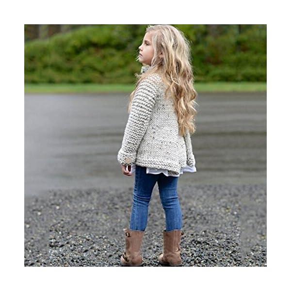 Ropa Niña Otoño e Invierno Chaqueta de Punto Abrigos Cremallera Espesar Peluche Color sólido Suéter Chaqueta Tejido de… 5
