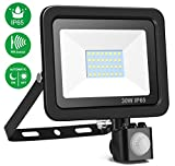 MINGER 30W Motion Sensor Light, Super Bright Outdoor LED Flood Lights, 2400lumen Cold White 6000K, Energy Saving Waterproof Security Light LED PIR Floodlight (No Plug)