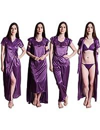 Senslife Women s Satin Solid Nightwear 6pc Set of Nighty Wrap Gown Top  Pajama Bra   Thong b3b584ee9