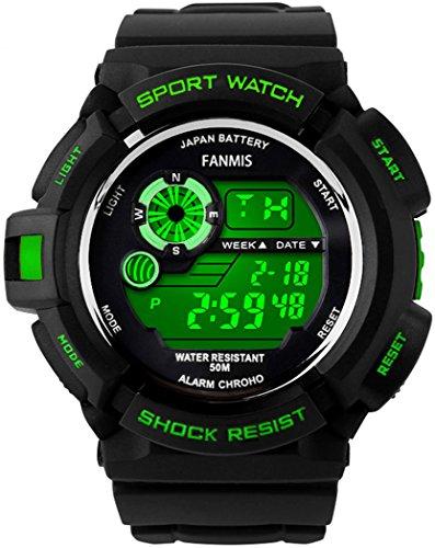 fanmis s-Shock Multi-Funktion Digital LED Quarz Armbanduhr wasserabweisend Elektronische Sport Uhren Grün Pn Led