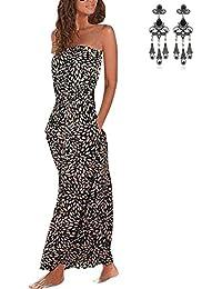 MODETREND Mujer Vestido Bohemio Chic Largos Verano de Envuelto Pecho Maxi Vestido de Fiesta Playa Vestir