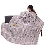 Zarupeng Lazy Quilt mit Ärmeln, Winter Steppdecke Kuscheldecke Verdickte Manteldecke Schlafsack TV-Decke Tagesdecke Sofadecke 150 x 200 cm