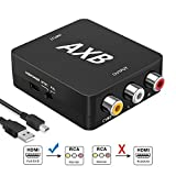 AXB - HDMI zu AV RCA CVBS Konverter | Composite Video Audio R/L | Wandler/Decoder | Full HD 1080p Adapter Converter | Unterstuetzt NTSC-und PAL-TV-Format ausgegeben | USB Kabel | für PS3/Digitalempfänger/Xbox/Videorecorder/Blue-Ray/DVD-Player/Fernsehgeräte/PCs | Home Entertainment | Neues Modell | Noise Reduction Design | (schwarz)