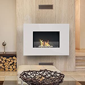 Imagin ARLINGTON-WHITE Wall Mounted Bio-Ethanol Fireplace - White