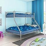 SHENGFENG Etagenbett für Kinder, Metall, 200 x 140 x 200 x 90 cm, Grau