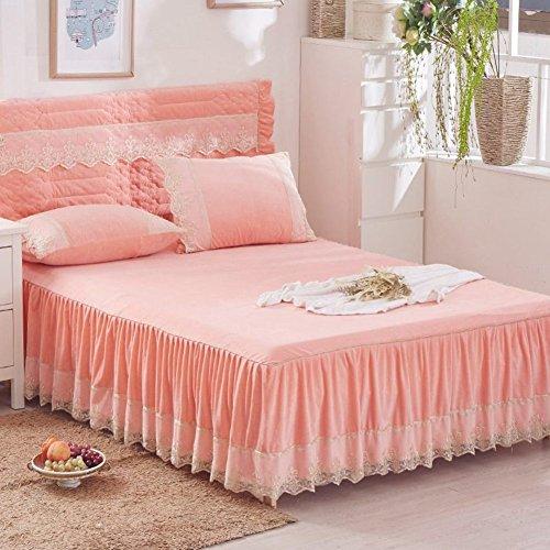 Parler Jupe de lit,Pièce Simple Hiver Épais Chaleureuse Anti-dérapant Couverture de lit,Polaire de Corail Double Couverture de lit-F 180x200x45cm(71x79x18inch)
