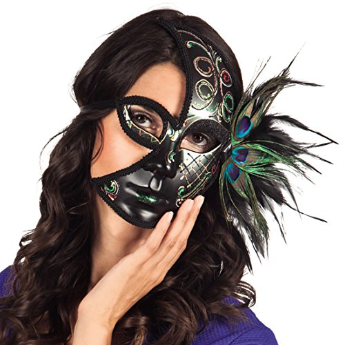 Amakando Phantommaske mit Pfauenfedern Federmaske Venedig verzierte Ballmaske Elegante Maske Maskenball Venedigmaske Damen Venezianische ()