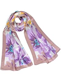 Nella-Mode CHIC & ELEGANT: SEIDENSCHAL in floralem Design; Schal aus reiner Satin Seide mit Blumen-Muster, ca. 168x53 cm