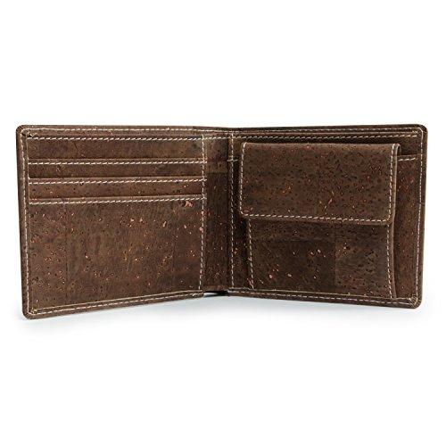 Leichtes Bifold Herren Portemonnaie vegan aus Kork (dunkel) mit Geschenkbox wasserabweisendes, robustes, handmade Portemonee (dunkel) (dunkel) - 4