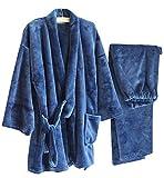 Herbst & Winter Herren Kimono Pyjamas Warm Flanell Khan Gedämpft Kleidung, Blau