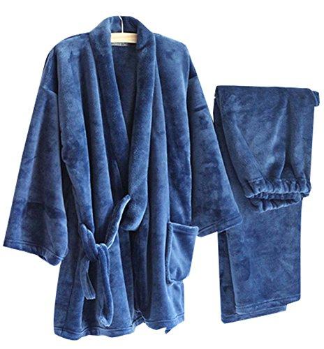 Herbst & Winter Herren Kimono Pyjamas Warm Flanell Khan Gedämpft Kleidung, Blau (Herren Flanell Pjs)