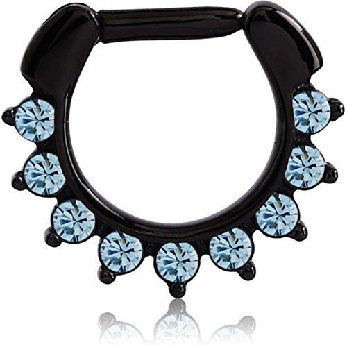 eeddoo Septum-Piercing Blaue Kristalle Schwarz Edelstahl