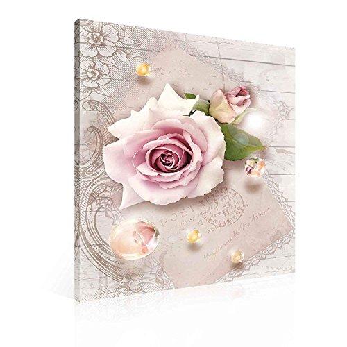 Blumen Rosen Rosa Tropfen Vintage Leinwand Bilder (PP2270O4FW) - Rosen Rosa Bild