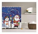 Bishilin Polyester-Stoff 3D Vintage Duschvorhang 180x180 Weihnachtsmann mit Schneemann Anti-Schimmel Duschvorhang